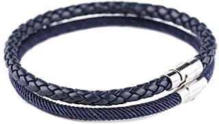 EAWIN Set of 2 Mens Braided Leather Bracelet with Magnetic Clasp & Braided Rope Cuff Wrap Wristband Nylon