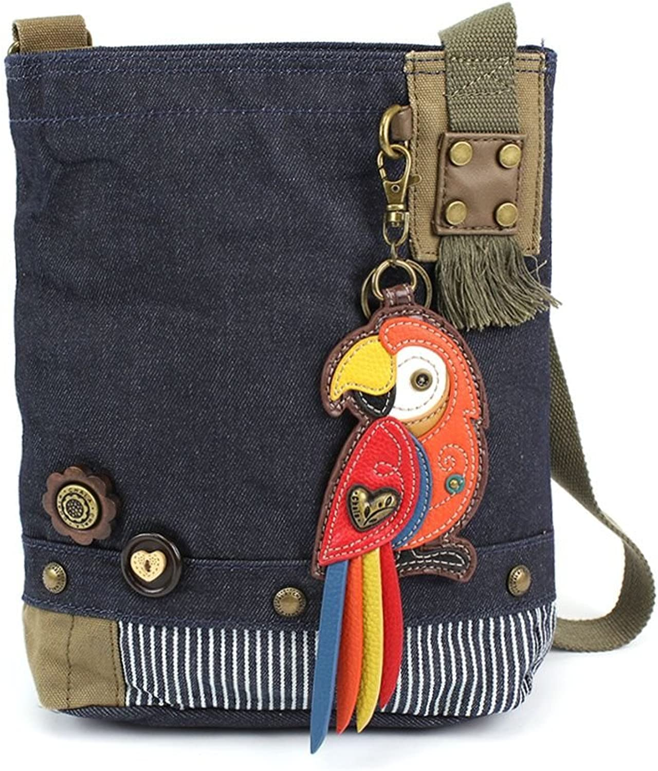 Chala Womens' Canvas Patch Crossbody Handbag Red Parred   Denim bluee