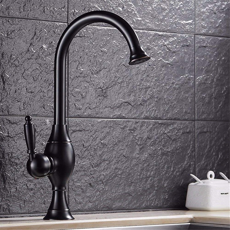 DMNJD Moderne einfacheKupfer hei und kalt Wasserhhne Küchenarmatur Schwarz WasserhahnKupfer Bad Toilette über Zhler Becken drehbare heie und kalte Wasserhahn Geeignet für Badezimmer Küche