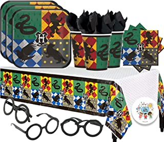 Harry Potter Party Pack for 16 with Plates, Napkins, Cups, Tablecover, Harry Potter Glasses and Exclusive Pin by Another Dream