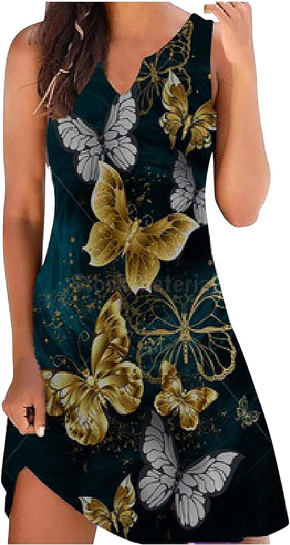 coersd Women Dresses Casual Sleeveless O-Neck Ladies Printed Sundress Slim Mini Comfy Sleeveless Summer Beach Skirt