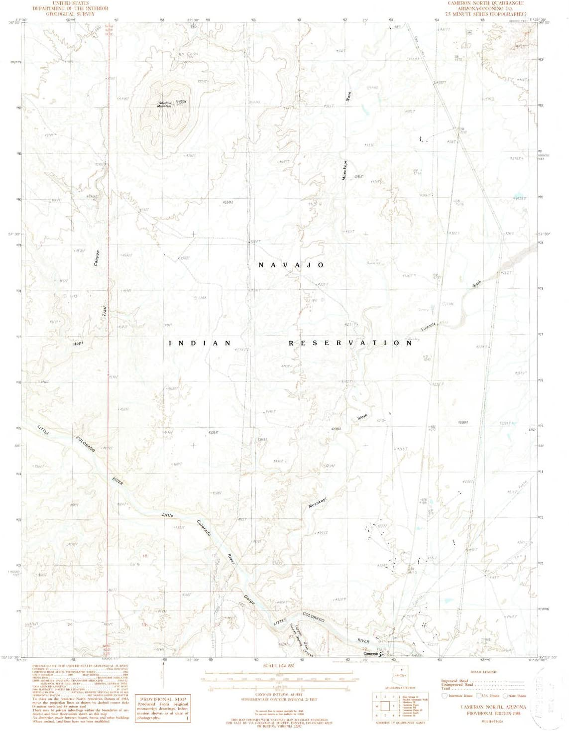 YellowMaps Cameron North AZ topo map M 7.5 Fees free 1:24000 Factory outlet Scale X