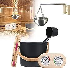 PEALOV Seau De Sauna En Aluminium,Kit Sauna 7L,Kit D'Accessoires De Sauna Avec Louche/Sablier/ThermomèTre HygromèTre/Kit D...