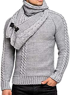Howely Mens Knit Premium Cowl Neck Pullover Detachable Loop Scarf Sweater