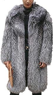 Men Faux Fur Teddy Coat Lapel Winter Warm Fur Jacket Maxi Full Sleeve Long Overcoat Parka Outerwear,Silver,6XL