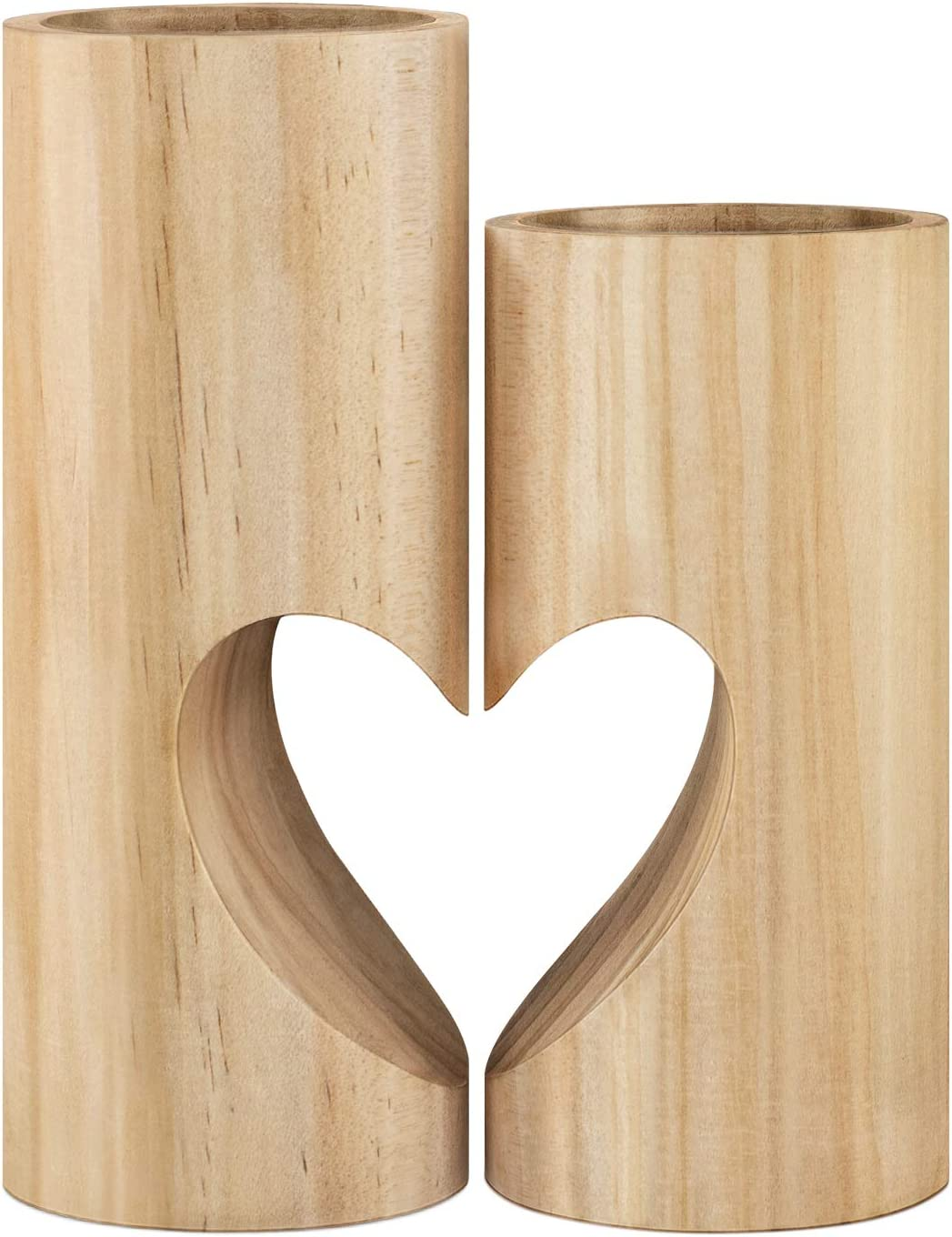 Easy-to-use Yolife Wood Tealight Candle Holder Set Unity Heart of 2 Limited price sale Pedesta