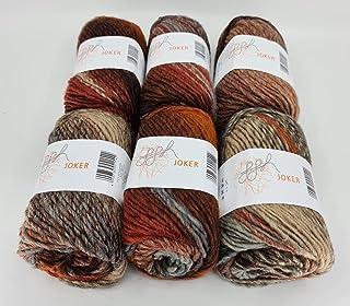ggh Joker Boîte de 6 pelotes de laine de 50 g chacune (300 g au total)   Laine avec dégradé de couleur   Couleur 013 – Mél...