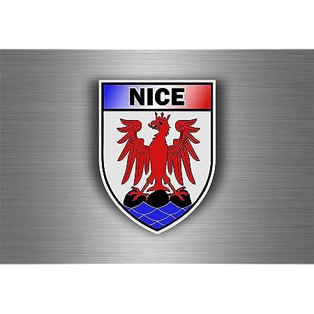 Akachafactory Aufkleber Sticker Auto Motorrad Wappen Stadt Nizza Armoirie Flagge Abzeichen Auto