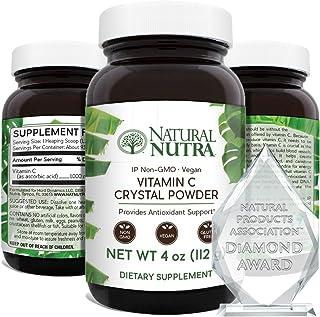 Natural Nutra Pure Vitamin C Crystal Powder from Ascorbic Acid, Non GMO, Potent and Premium Grade, Vegan and Vegetarian, H...