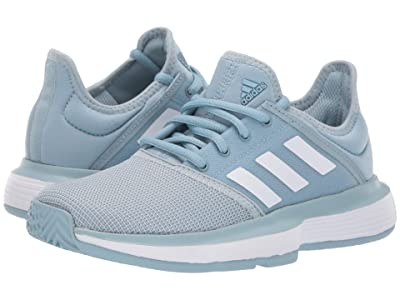 adidas Kids SoleCourt xJ Tennis (Little Kid/Big Kid) (Ash Grey/Footwear White/Footwear White) Kids Shoes