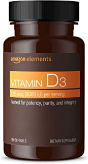 Amazon Elements Vitamin D3, 5000 IU, 180 Softgels, 6 month supply (Packaging may vary), Supports Strong Bones and Immune H...