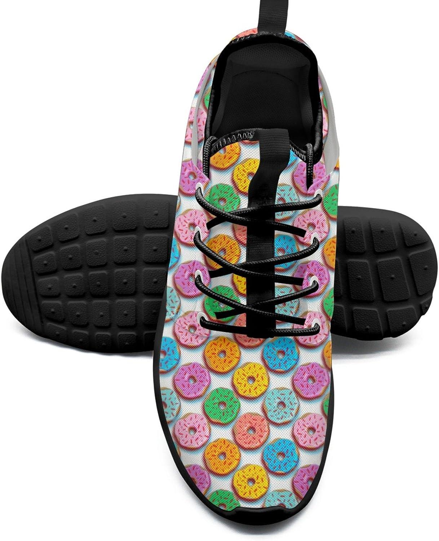 FAAERD Women's Fashion Lightweight Volleyball Sneakers Pop Art Hipster Sprinkle Bright Donut Print Basketball shoes