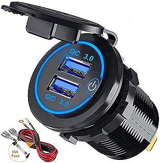 Thlevel USB-billaddare, vattentät QC3.0 USB-laddare uttag strömuttag adapter med strömbrytare LED-indikator för 12 V/24 V ...