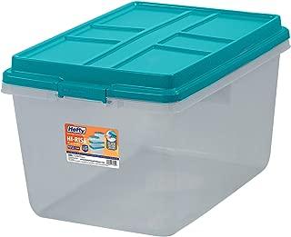 Single Unit 72-Quart Hefty Hi-Rise Clear Latch Box In Teal Sachet Lid and Handles