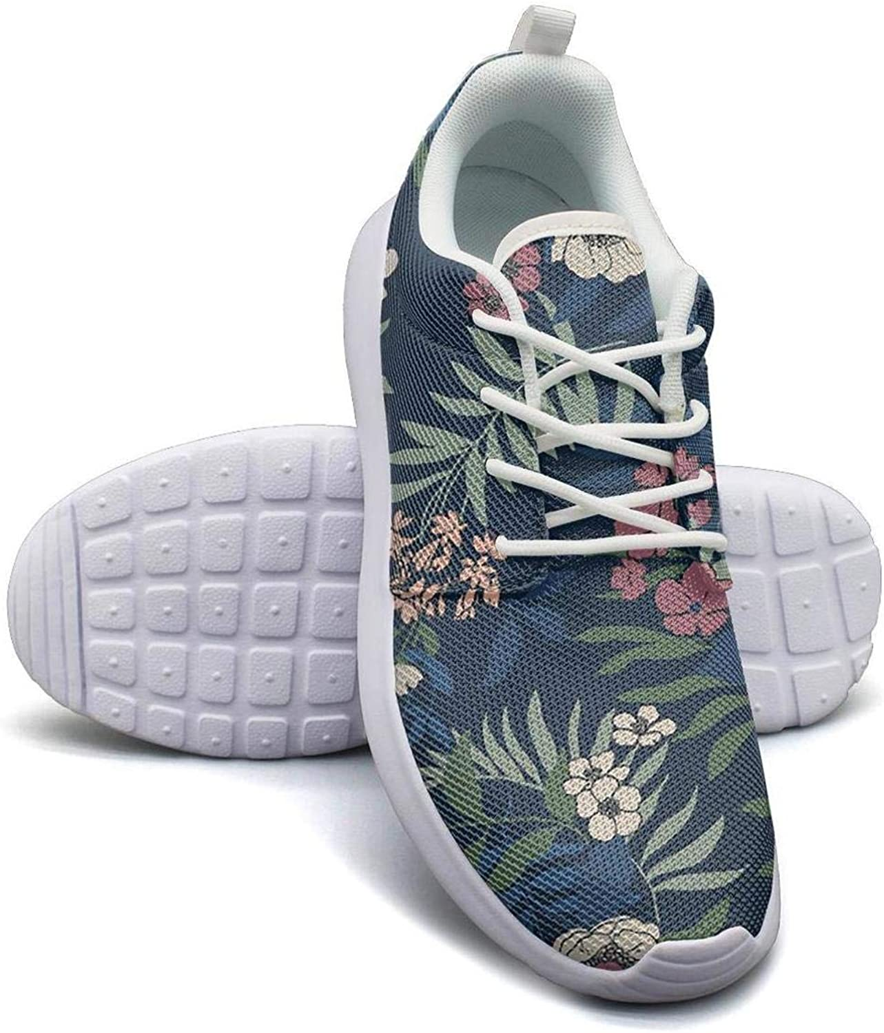 CHALi99 Fashion Women Lightweight Mesh shoes Tropical Floral Ferns Sneakers Running Rubber Sole