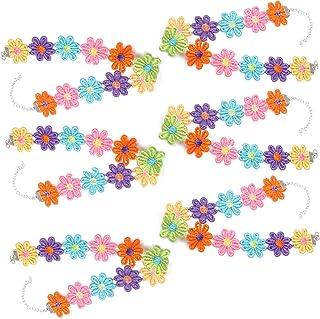 WENTS - Collana girocollo multicolore con margherite, fascia per capelli e fiori, alla moda, per donne e ragazze, 6 pezzi