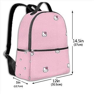 Classic School Backpack Hello Kitty Dot Unisex College Schoolbag Travel Bookbag Black