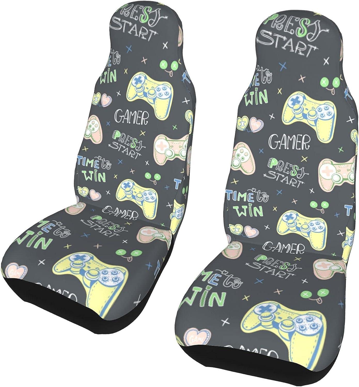 Inexpensive Inrubie Doodles Cute Joystick 2 Pcs San Antonio Mall Car Seat Covers Seats Front