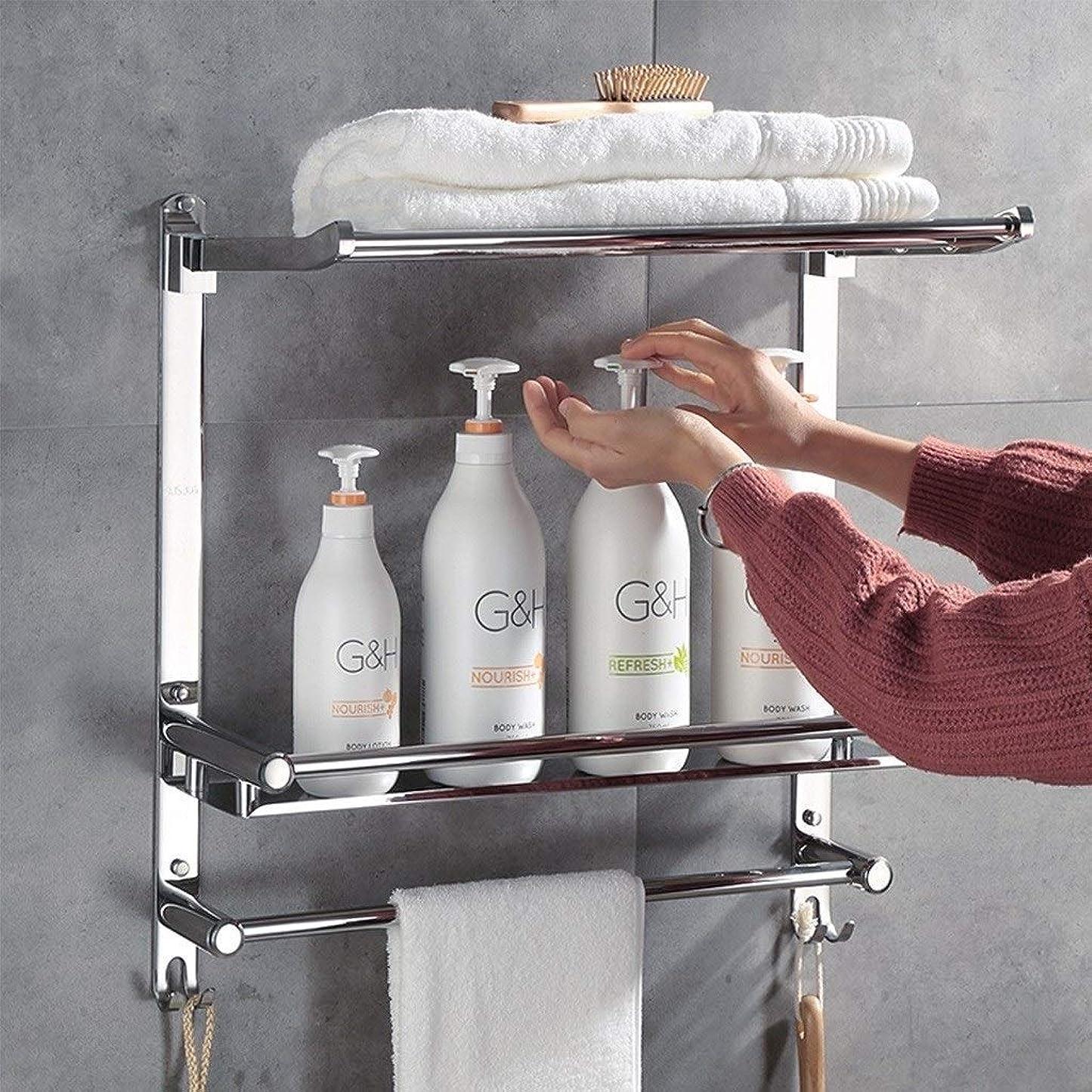 中央ダニ選出するアルミ合金のホテルの浴室のタオル掛けは90°折るタオル掛けの壁に取り付けられた貯蔵の棚-715(サイズ:50cm)である場合もあります