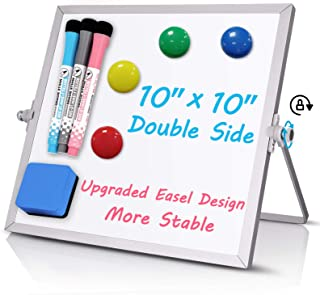 """Small Dry Erase White Board, 10"""" X 10"""" Double Sided Desktop Whiteboard, Portable Magnetic Tabletop Erase Board for Kids Dr..."""