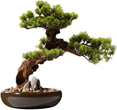 Artificial Plants Chinese Artificial Cedar Desktop Simulation Green Value, Hotel Villa Artificial Potted Living Room Porch...