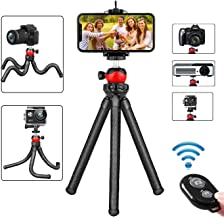 Phone Tripod Stand, Portable Flexible Cell Phone Camera Tripod with Wireless Remote, Compatible with iPhone Samsung Android Phones Gopro, Great for Selfies, Vlogging, Streaming, Photography, Recording