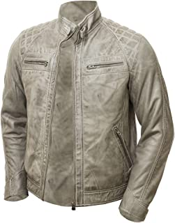 2242d3c0162aa Abbraci Men s MotoBiker Vintage Shade Cafe Racer Quilted Motorcycle Padded  Shoulder Wax Real Lambskin Leather Jacket