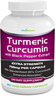 Turmeric Curcumin Complex with Black Pepper Extract - 755mg per Capsule, 180 Veg. Caps - Contains Piperine (for Superior A...