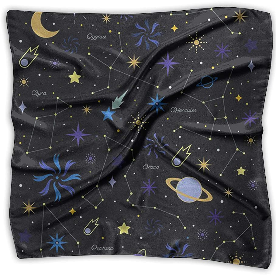 Square Satin Scarf Constellation Star Silk Like Lightweight Bandanas Head Wrap Neck Shawl Headscarf q734781490
