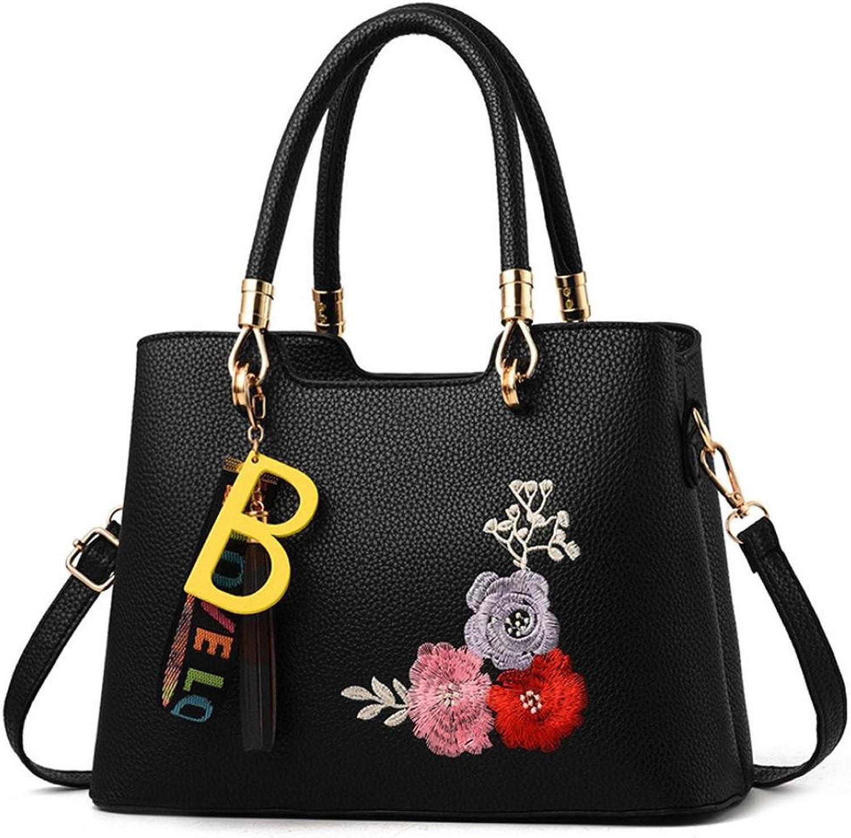 Women Handbags Tassels Flower Crossbody Bag Shoulder Bag Messenger Bag (Black)
