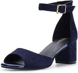 IDIFU Women's IN2 Candie Low Chunky Block Heel Pump Heeled Sandals Buckle Ankle Strap Peep Toe Dress Shoes