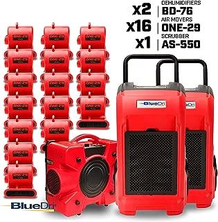 BlueDri Resto MAX 2 16X 1/3 HP One-29 Air Movers Carpet Dryer Blower Floor Fan 2X 76 Pint Commercial Industrial Dehumidifier 1x Air Scrubber Air Machine Water Damage Restoration Equipment, Red