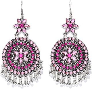 Crunchy Fashion Bollywood Style Oxidised Silver Pink Crystal Indian Jewelry Earrings for Women & Girls