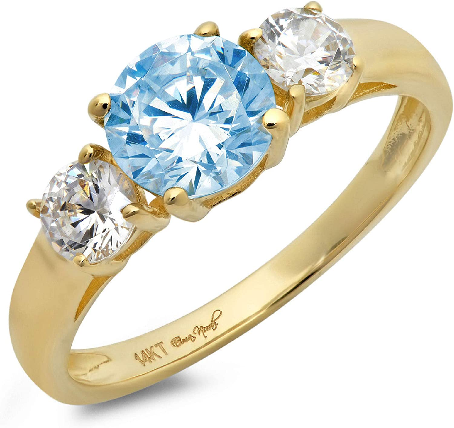 1.50ct Brilliant Round Cut Solitaire 3 stone Genuine Flawless Blue Simulated Diamond Gemstone Engagement Promise Statement Anniversary Bridal Wedding Ring Solid 18K Yellow Gold