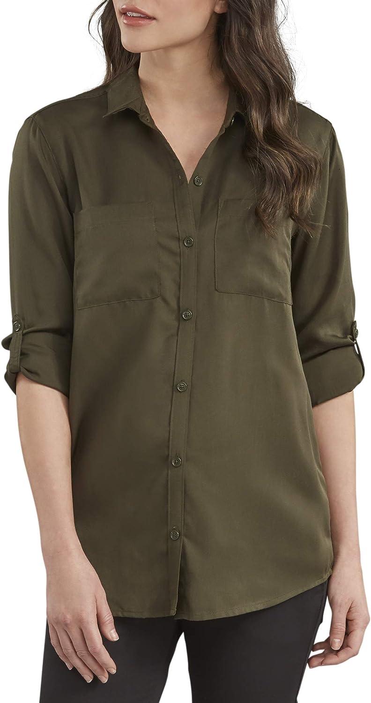 Dickies Womens Long Sleeve Lyocell Button Up Shirt Work Utility Button Down Shirt