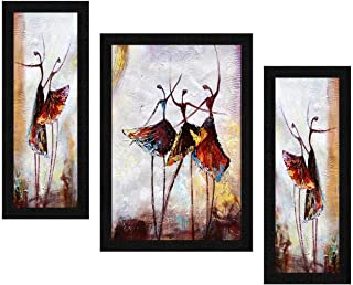 ARTAMORI Dancing Doll Abstract Art 3 Piece Painting with Synthetic Frame