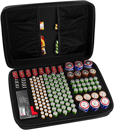 COMECASE Hard Battery Organizer Storage Box, Carrying Case Bag Holder - Holds 148 Batteries AA AAA C D 9V - with Batt...