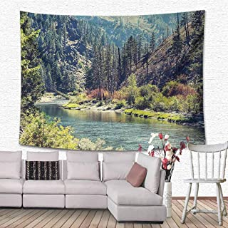 Lake House Decor Collection Wall Art Decor Tapestry Scenic Mountain with Pine Trees and Flowing River Colorful Foliage Daytime Sunshine Nature Wall Tapestry for Dorm 90.5