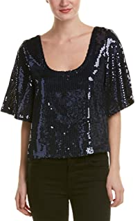 Womens Sequined Short Sleeves Casual Top
