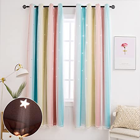 Hughapy Star Curtains for Girls Bedroom Kids Room Decor Light Blocking Voile Overlay Princess Star Hollowed Curtain Colorful Striped Layered Window Curtain, 1 Panel ( 52W x 84L, Pink / Blue)
