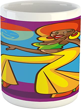Ambesonne 70s Party Mug, American Woman Dancing at the Disco Funky Fashion with Smiling Face Art, Ceramic Coffee Mug Cup for Water Tea Drinks, 11 oz, Slate Blue