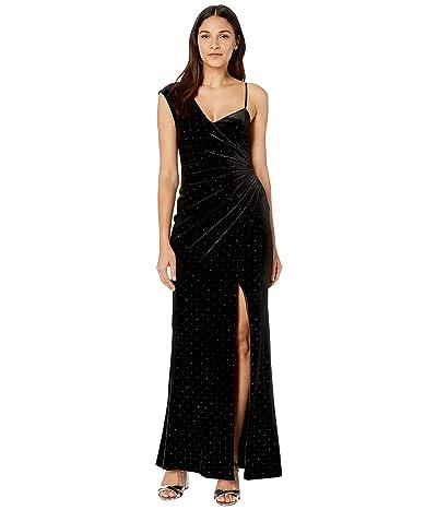 BCBGMAXAZRIA Velvet Gown with Studs (Black) Women