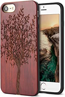 Compatible for Wood iPhone 8 Case, Real Wood Engraving Tree Soft Rubber Cushion Shock Absorption Flexible Anti-Scratch Bumper Protective for iPhone 7/8 Case