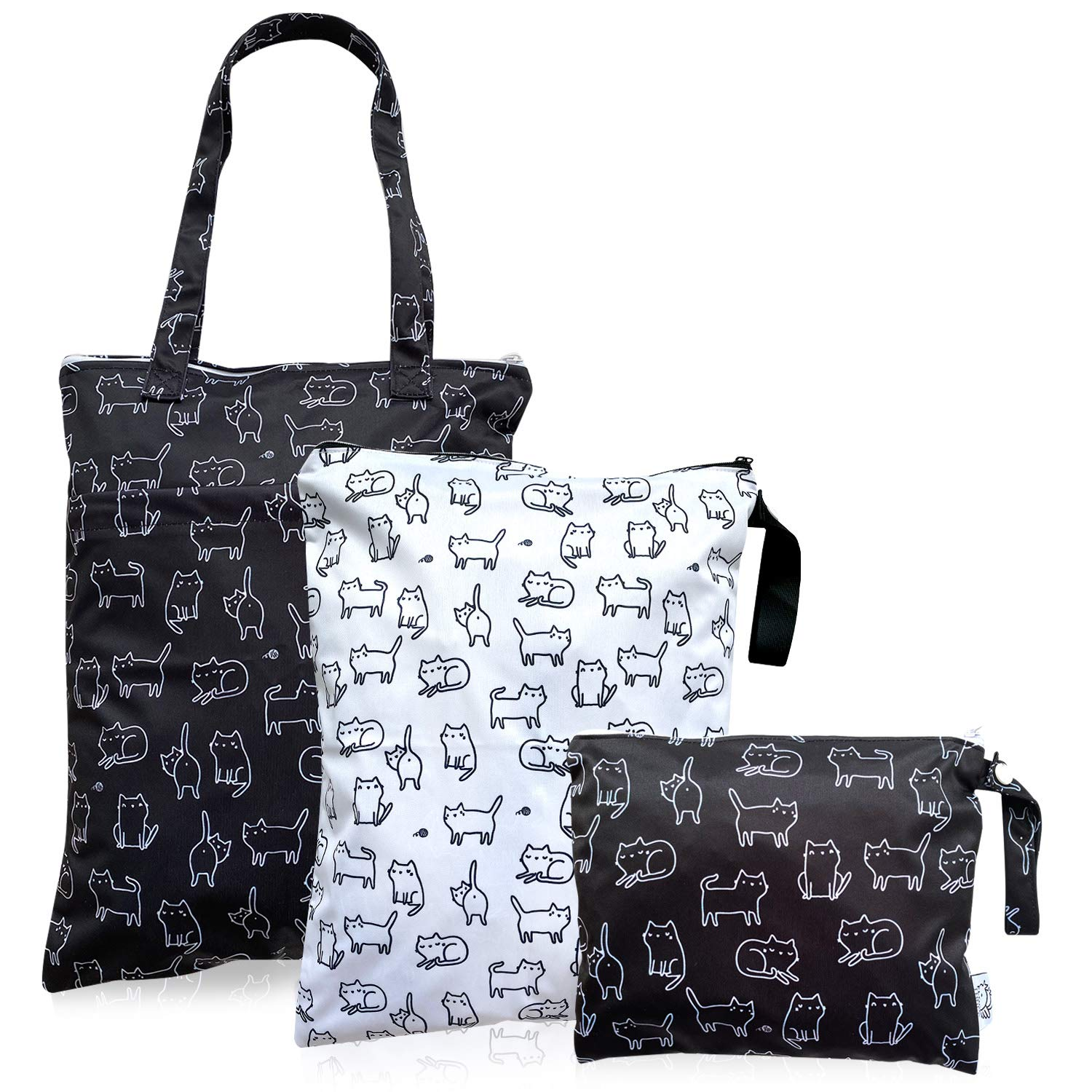 FLOCK THREE 3pcs Superlatite Courier shipping free Waterproof Wet Tote Bag Reusable Clothes Ba