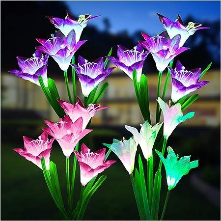 Outdoor Solar Lights, KOOPER 4 Pack Solar Garden Lights with Bigger Lily Flowers, Waterproof 7 Color Changing Outdoor Lights - Bigger Solar Panel for Garden Patio Yard Pathway Decoration