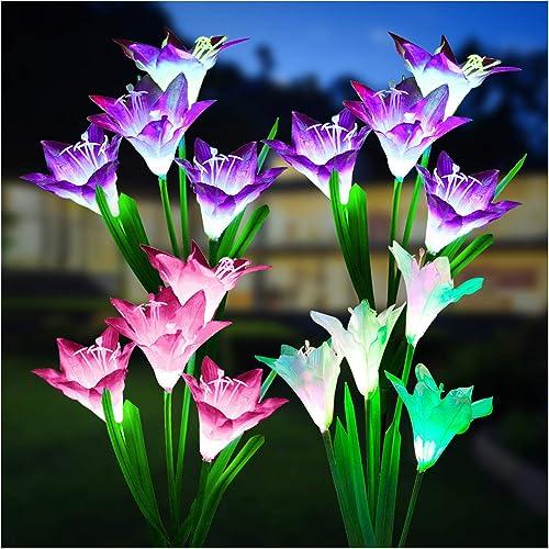 Outdoor Solar Lights, KOOPER 4 Pack Solar Garden Lights with Bigger Lily Flowers, Waterproof 7 Color Changing Outdoor...