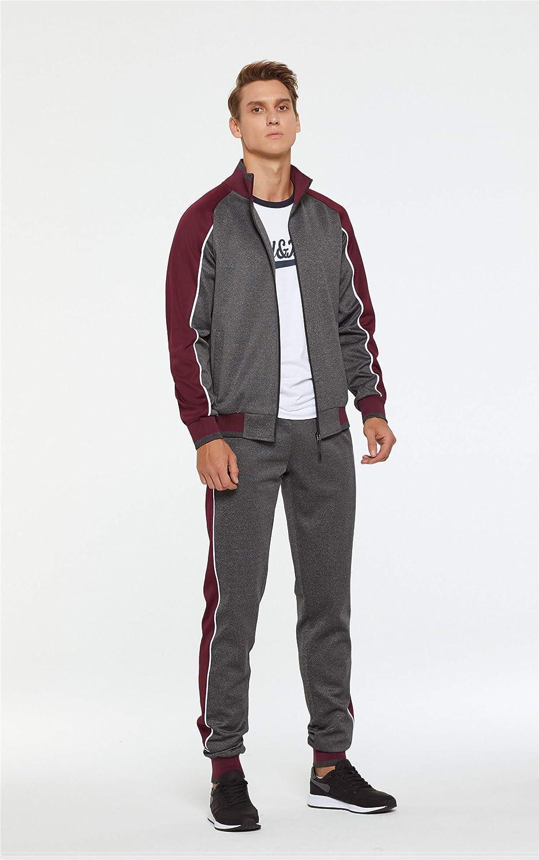 Aeneontrue Men's Tracksuit Color Block Patchwork Fashion Sports Suit Set Casual Sweat Jacket & Pants