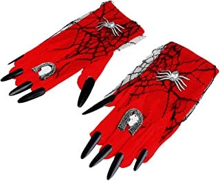 KESYOO Halloween Skull Gloves Lace Witch Gloves Bloody Nail Mittens Witch Cosplay Costume Halloween Party Accessories for ...
