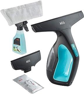 AEG Limpiador de ventanas con botella de spray y cubierta de mopa de microfibra lavable (litio que dura 1 hora) WX7-60A2