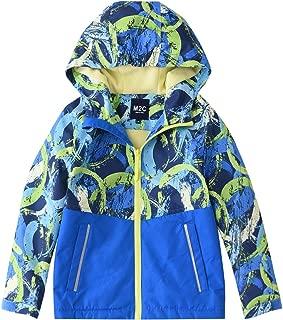 M2C Boys Girls Hooded Color Block Waterproof Fleece Lined Windbreaker Jacket